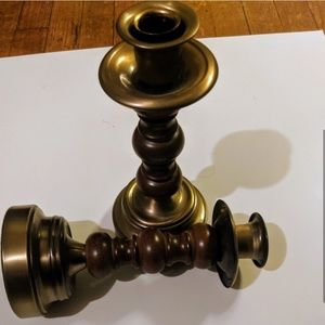 Vintage Accents - Vintage Wooden Brass Candle Stick Holders (2)